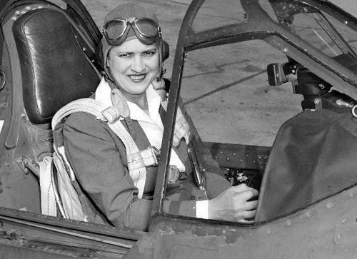 Jackie Cochran in the cockpit of a Curtiss P-40 Warhawk