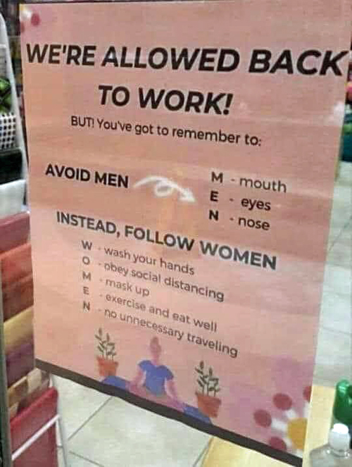Women back to work sign