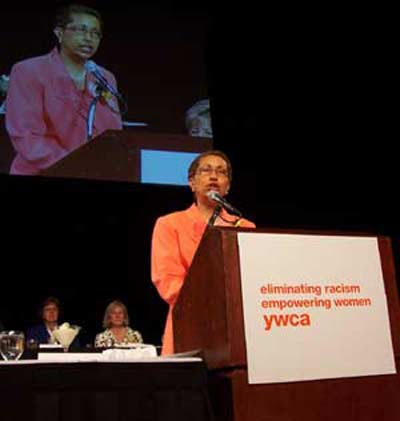 Barbara Danforth speaking at the YWCA Women of Achievement Awards Luncheon
