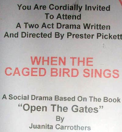 Juanita Carrothers invitation to the play based on her book