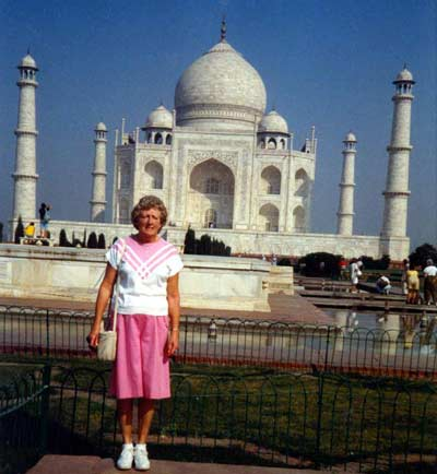 Helen Bacon at Taj Mahal in India