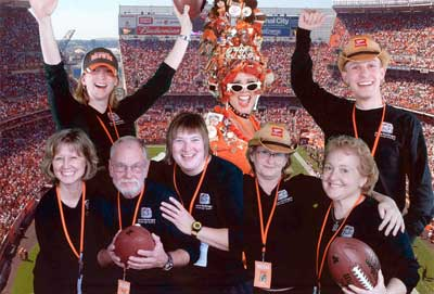 Janine Bentivegna and crew (and the Bone Lady) at Taste of NFL Charity event at Cleveland Browns Stadium