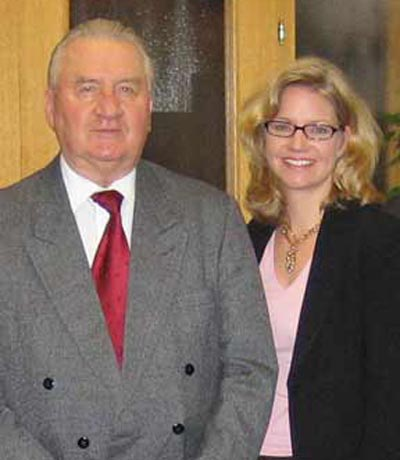 the Slovak Republic�s first president, Michal Kovac with Susie Frazier Mueller